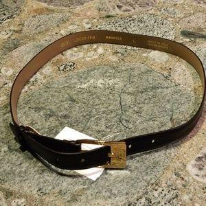 NWT St. John Black Leather Belt A400053